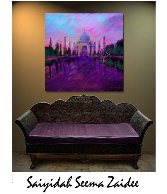 Checkout this amazing product ART/Taj Mahal,India, Islamic Architecture,Canvas Print, lavendar /Muave/Canvas Print Reproduction - Wall Decor - Seema,$95