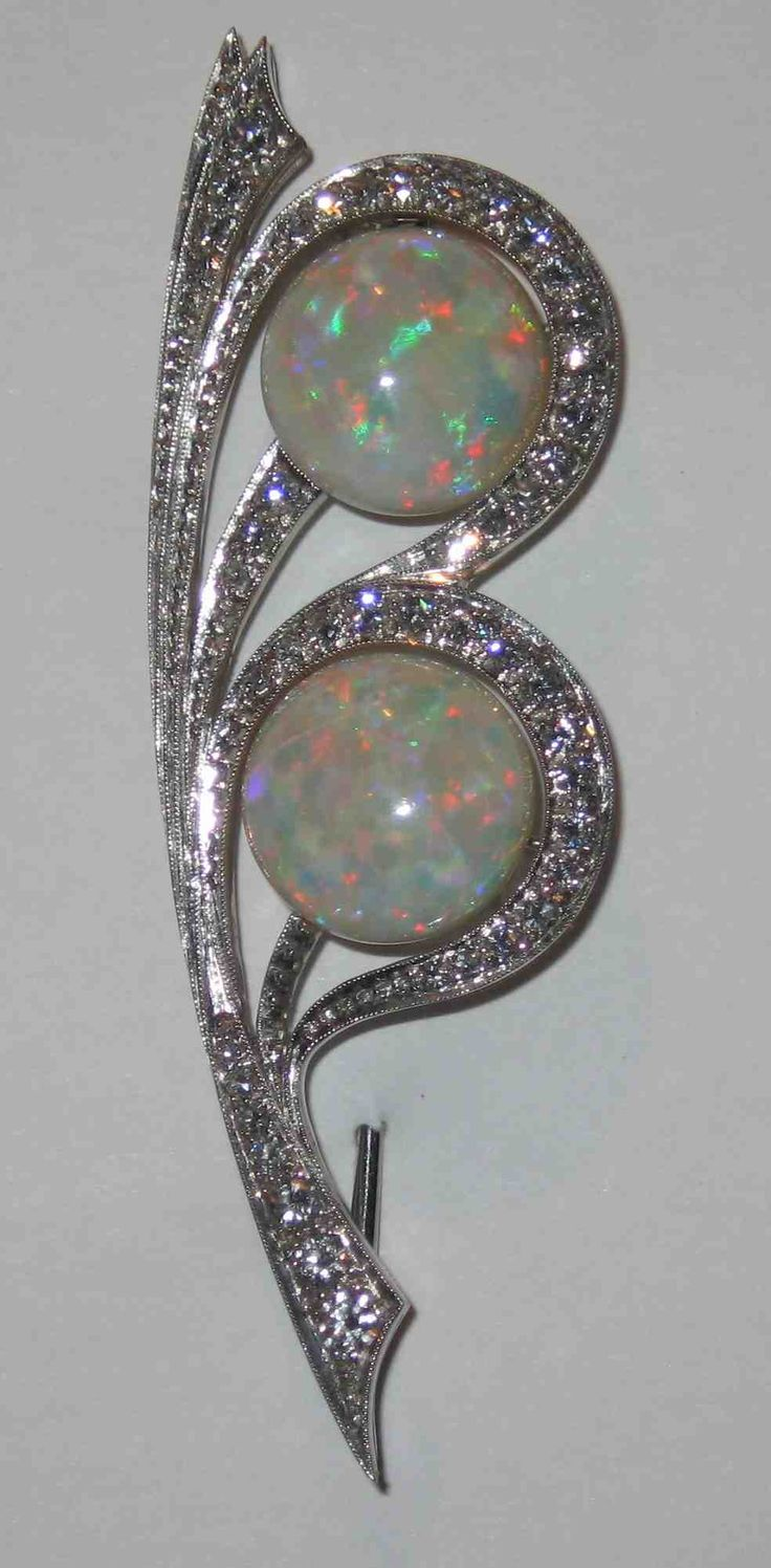 Opal Diamond Brooch Art Deco Opal diamond brooch set in platinum, signed Birks. Canadian.