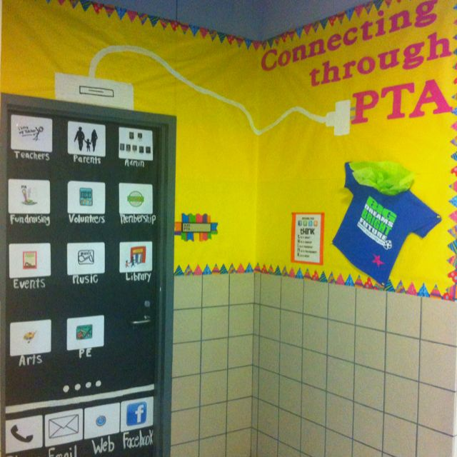 "This year PTA's theme is ""connecting"". So I designed the door an iPhone that was connected to the PTA. The icons on the phone are- parents, teachers, PE, and so on....."