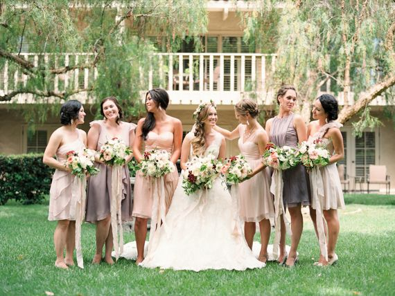 bridesmaids in shades of blush + plum | ashley kelemen photography: Mix and Match Bridesmaids to Look Gorgeous | http://www.itakeyou.co.uk/wedding/mix-and-match-bridesmaids #bridesmaids