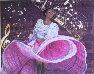 Best Wall Quilt at the 2014 QuiltFest Destination Savannah: Dance to the Music by Jennifer Day of Santa Fe, New Mexico