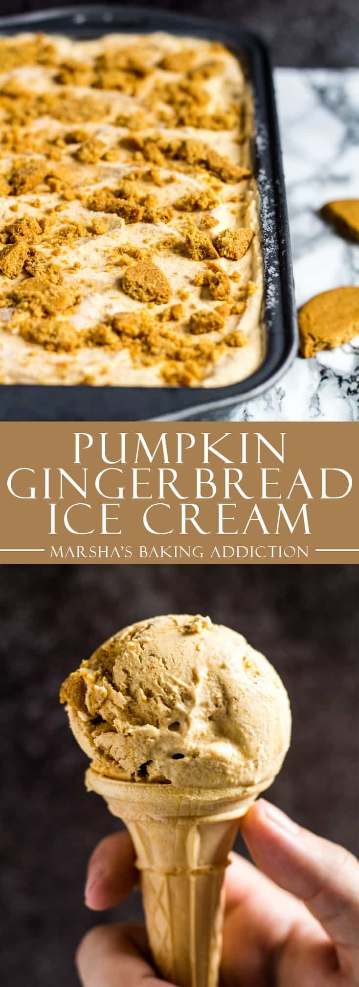 No-Churn Pumpkin Gingerbread Ice Cream - Deliciously creamy no-churn pumpkin ice cream that is perfectly spiced, and stuffed with ginger biscuits! | marshasbakingaddiction.com | @marshasbakeblog