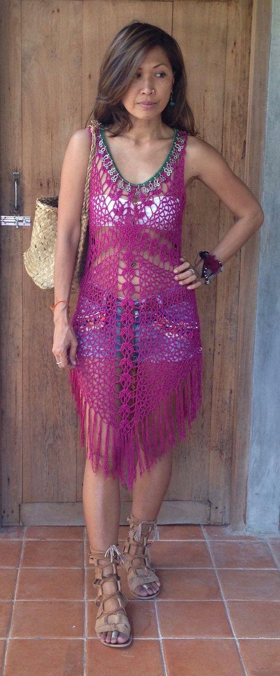 Handmade Womens Cross Crochet Boho Dress With Fringe & Vintage Jewelry. Two…