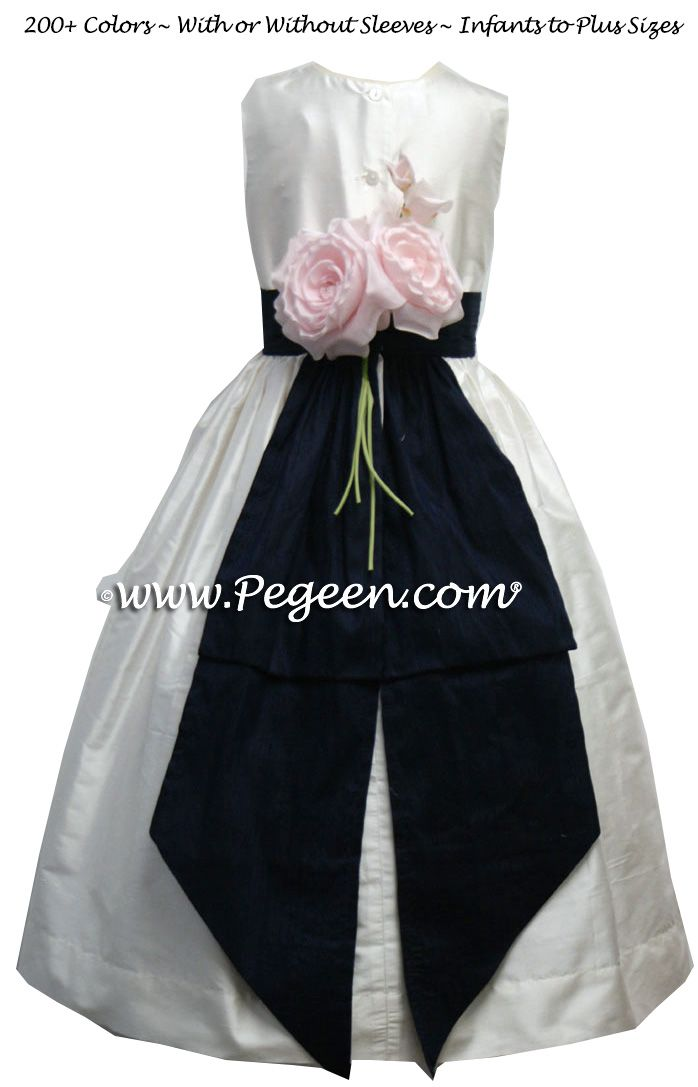 bffa2357d3d Navy Blue and Antique White Girl Dresses with back flowers Classic Style 383
