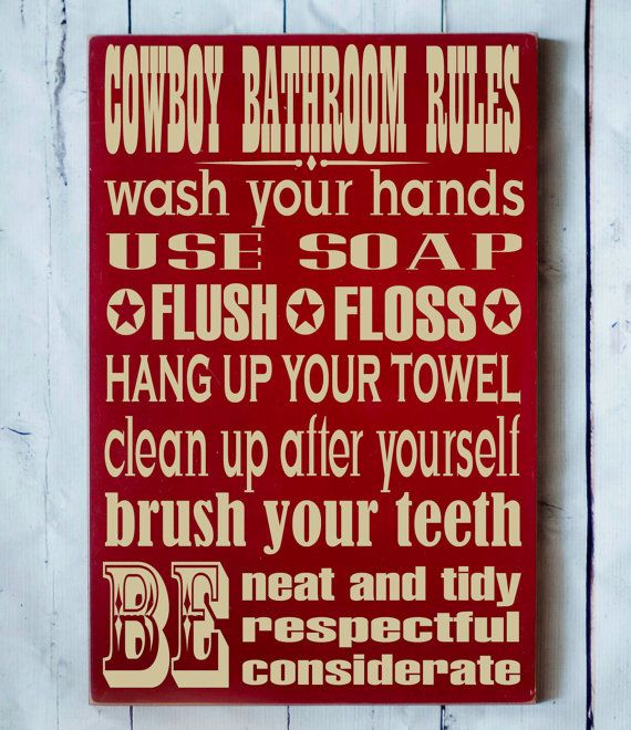 cowboy bathroom rules wood sign western decor cowboy child decor cowboy wood sign sign for bathroom bathroom decor country decor - Cowboy Decor