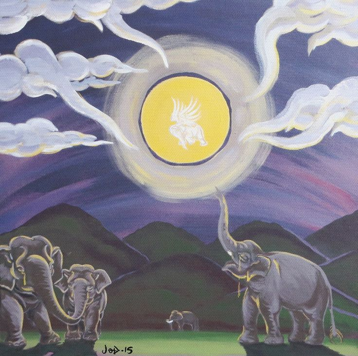 Elephant painting on canvass - Tragedy of the Golden Moon