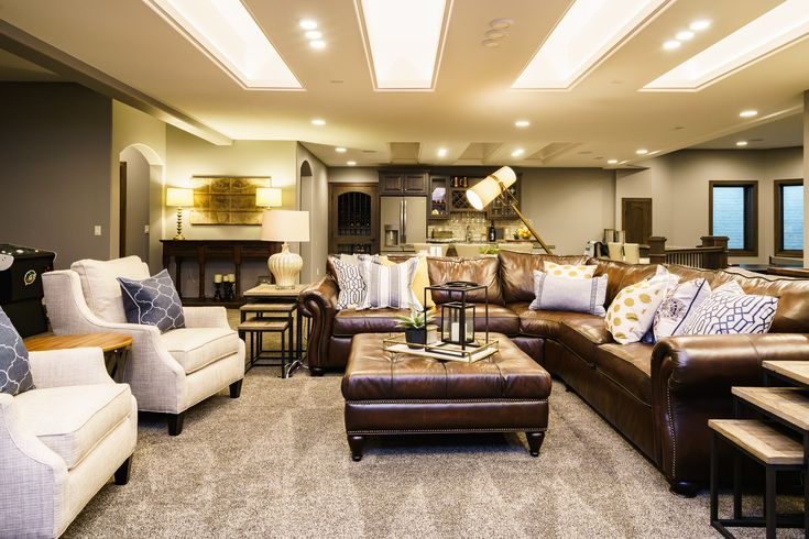 Basement Family Room Leather Furniture Fun And Funky Lighting Rustic Modern Design Elements
