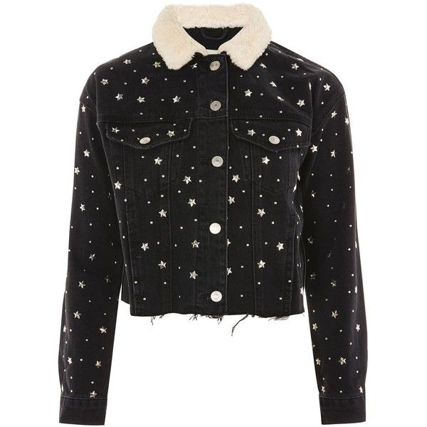 TopShop Moto Star Stud Denim Borg Jacket ($125) ❤ liked on Polyvore featuring outerwear, jackets, washed black, studded jackets, denim jackets, star jacket, studded denim jacket and topshop jackets