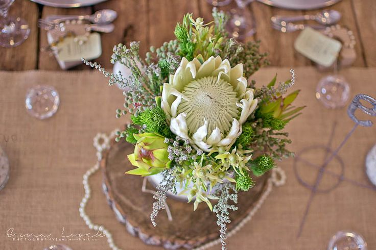 Erna Loock Photography: { Forever } Hanri + Jacques Part One Rustic Romance Wedding White Protea Centre Piece