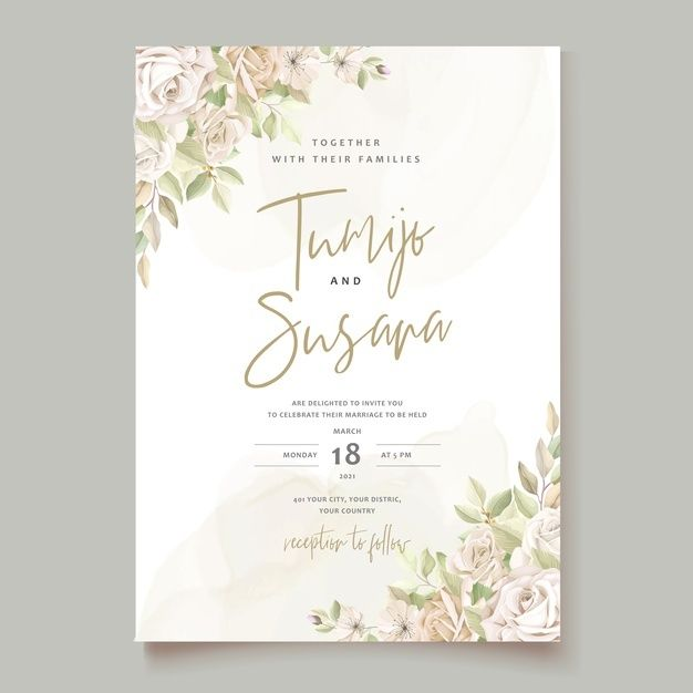 Download Beautiful Roses Invitation Card Template For Free Di 2020 Desain Undangan Undangan Desain