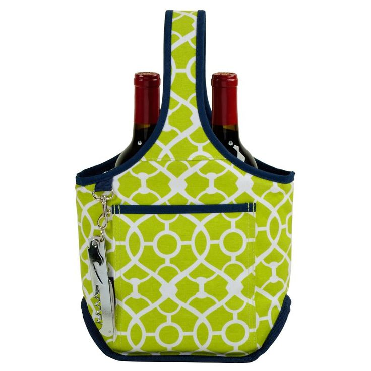 Picnic At Ascot Two Bottle Carrier Trellis Green - 512-TG