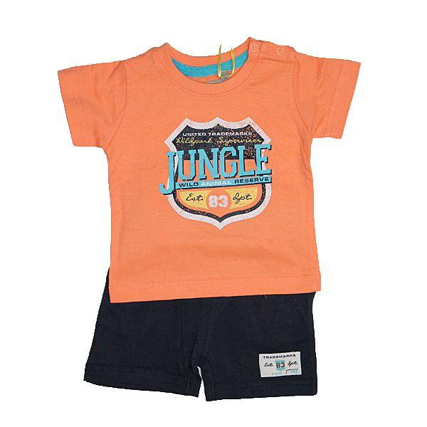 Βρεφικά ρούχα για αγοράκια : Σετ μπλούζα βερμούδα για αγοράκια peach