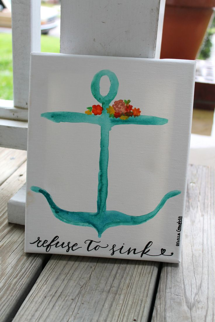 Refuse to Sink // watercolor anchor painting // 8x10 inches // READY TO SHIP by colorsoncanvas on Etsy