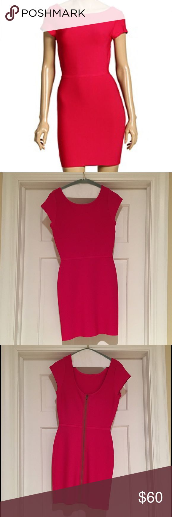 BCBGMaxAzria Hot Pink Bandage Dress Only worn twice, this is such a fun party dress! Small line of fabric around the waist to accentuate and full length zipper down the back. This dress does a great job of sucking everything in! BCBGMaxAzria Dresses Mini
