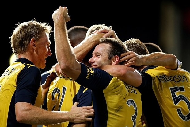 My team I sing for Yellow.  Central Coast Mariners celebrate yet another win!