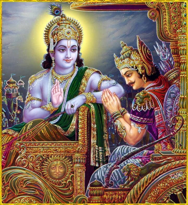 Arjuna felt confused. He told Krishna to stop friendly talks and act as his teacher....Arjuna thought he'd incur sins for fighting. Krishna told him how he'd incur sins for not fighting, for not carrying out his prescribed duty as a warrior.