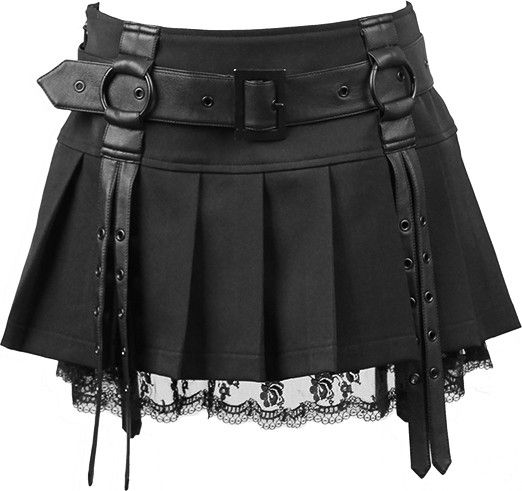 Pleated mini skirt with belt and lace detail