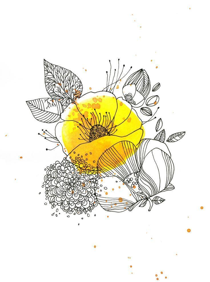 """Tatto Ideas 2017 – [ILLUSTRATION] """"Jaune bouton d'or"""" par Cécile Hudrisier #illustration #dessin"""