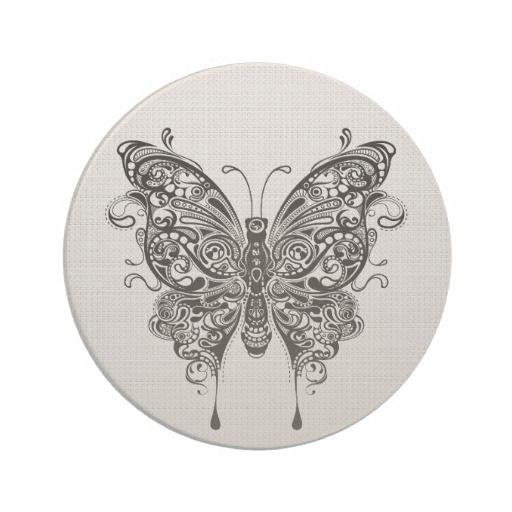Black & White Butterfly-Tattoo Art Beverage Coaster | Zazzle