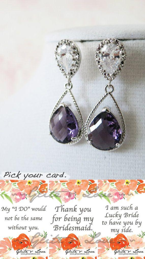 Magda  Silver Amethyst Teardrop Crystal Earrings by GlitzAndLove