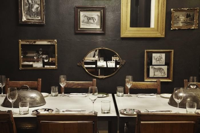 Smith: Dining Rooms, Galleries Wall, Grey Wall, Black Kitchens, Collage Wall, Smith Restaurant, Gray Wall, Dark Wall, Black Wall