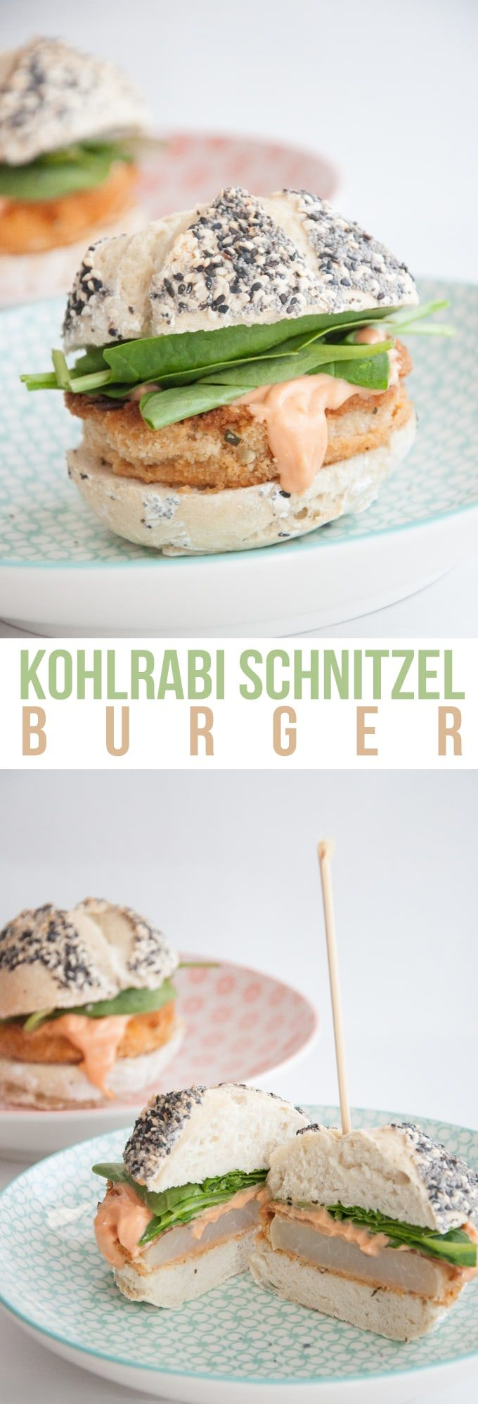 Recipe for a vegan Kohlrabi Schnitzel Burger with homemade Burger Buns, spinach and Thousand Island dressing.