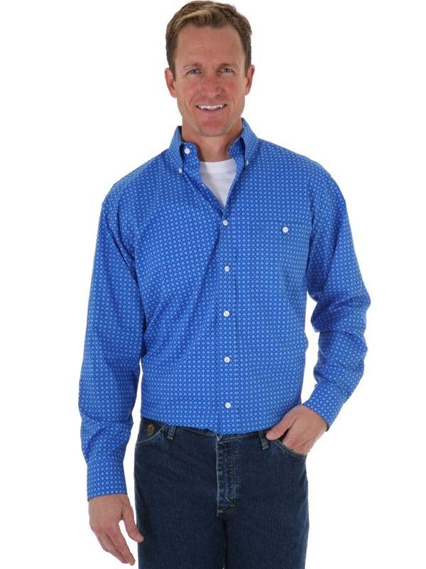 Wrangler George Straight Blue Long Sleeve Poplin Shirt MGS53