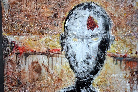 """Dementie - 31"""" door 31"""" gesmolten glaskunst aan de muur - Abstract expressionisme schilderij - gemonteerd op staal"""