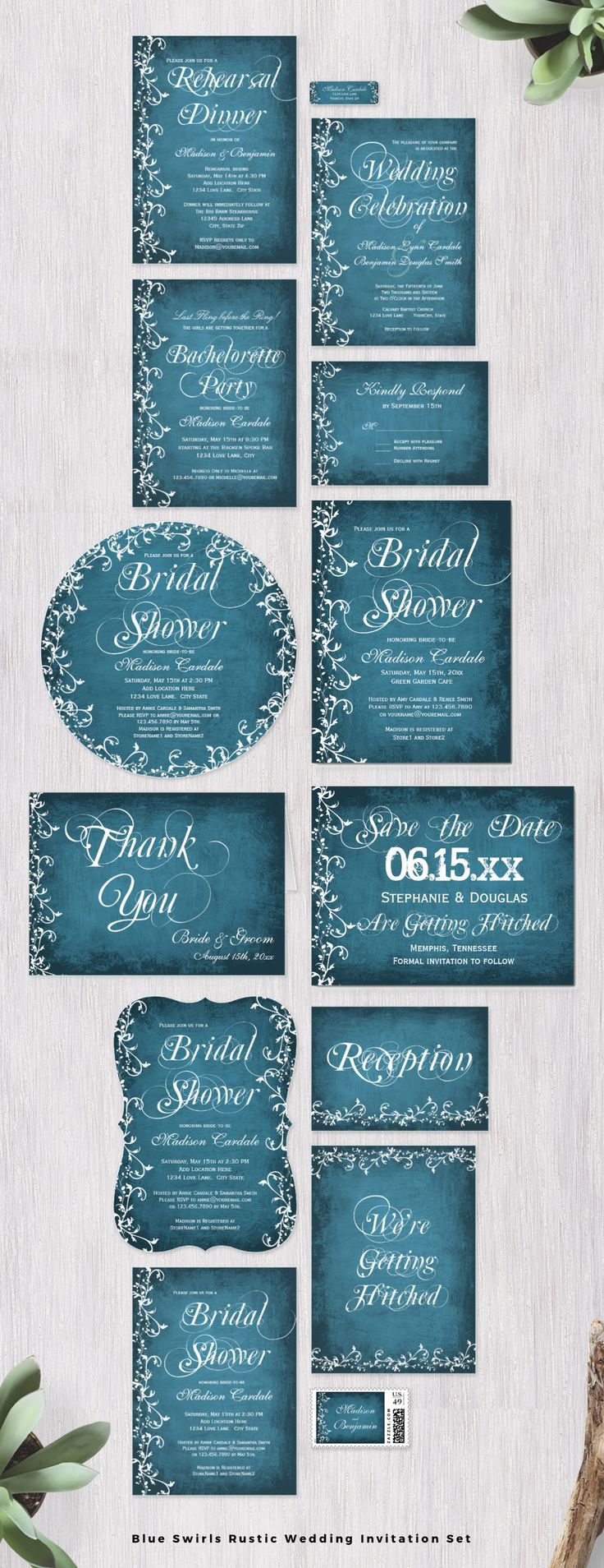 rustic wedding invitations do it yourself%0A Blue Swirls Rustic Wedding Invitation Set with a distressed blue background  with elegant floral swirls