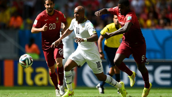 BRASILIA, BRAZIL - JUNE 26: Andre Ayew (C) of Ghana competes for the ball against William Carvalho (R) and Ruben Amorim (L) of Portugal during the 2014 FIFA World Cup Brazil Group G match between Portugal and Ghana at Estadio Nacional on June 26, 2014 in Brasilia, Brazil. (Photo by Dennis Grombkowski - FIFA/FIFA via Getty Images)  2014 FIFA World Cup Brazil™: Portugal-Ghana - Photos - FIFA.com