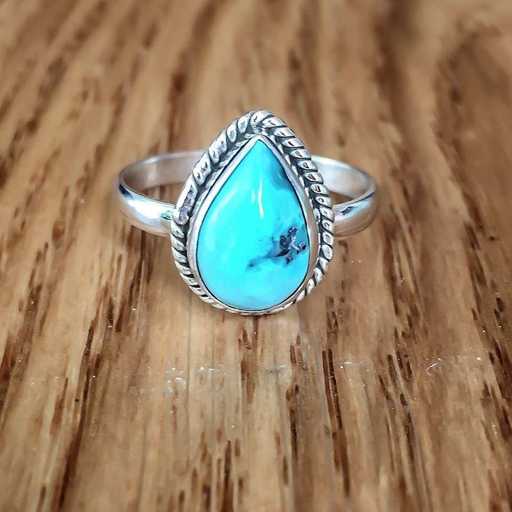 Turquoise Tear Drop Twist Ring