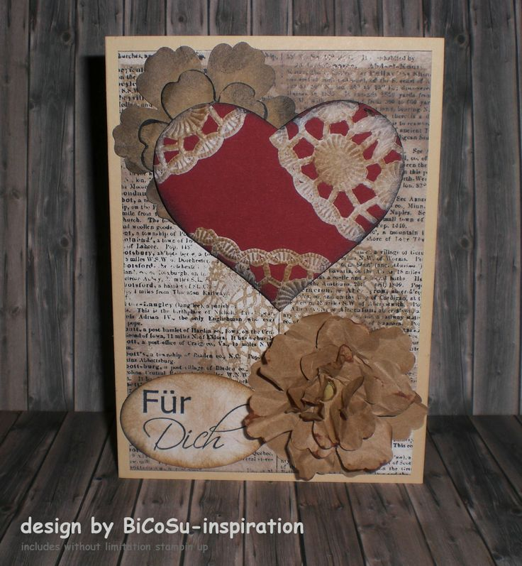 Grußkarte - Muttertagskarte - Geburtstagskarte - für Dich --- greeting cards - mothers day cards - happy birthday cards - for you-- with heart from sizzix and stampin up backround stamp dictanary and blossom punch -- paper from the flowers is kraft paper and for the heart doily