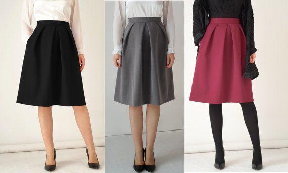 Black midi skirt pleat skirt grey skirt skirt with by RozZastyl