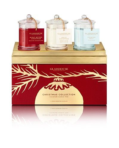 Christmas Collection - Miniature Candle Trio $44.95 set of 3 includes-- Night Before Christmas, White Christmas & Christmas Spirit. By Glasshouse Fragrances. #glasshouse