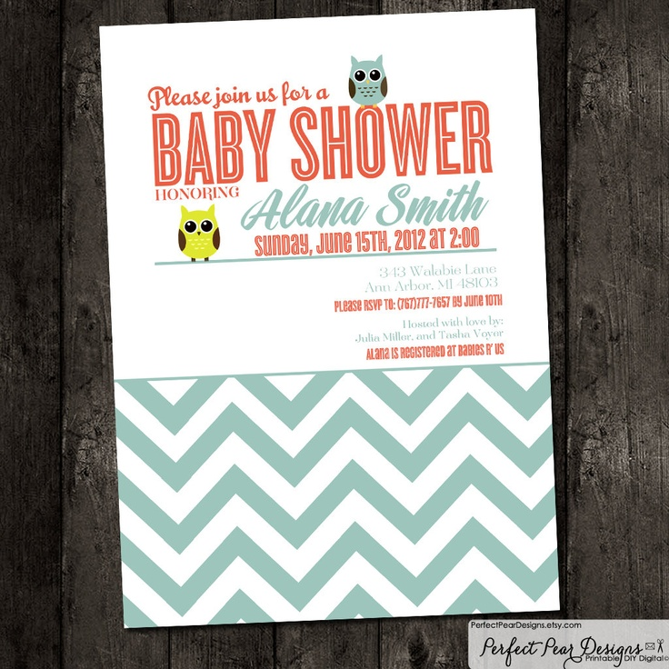 clever baby shower invitation wording%0A Baby Shower Invitation  Coral  Aqua Blue Retro Owl Chevron Theme   Boy  Girl