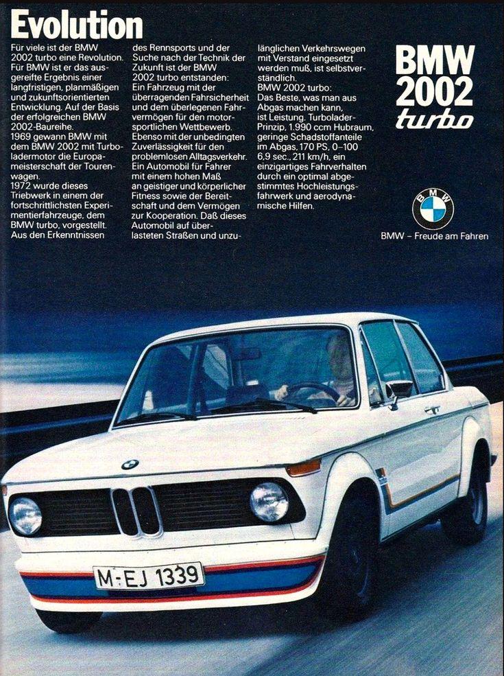 1972 BMW 2002 Turbo Wie cool ist diese Anzeige des BMW 2002 Turbo-Magazins von 1972 auf Deutsch!? !!