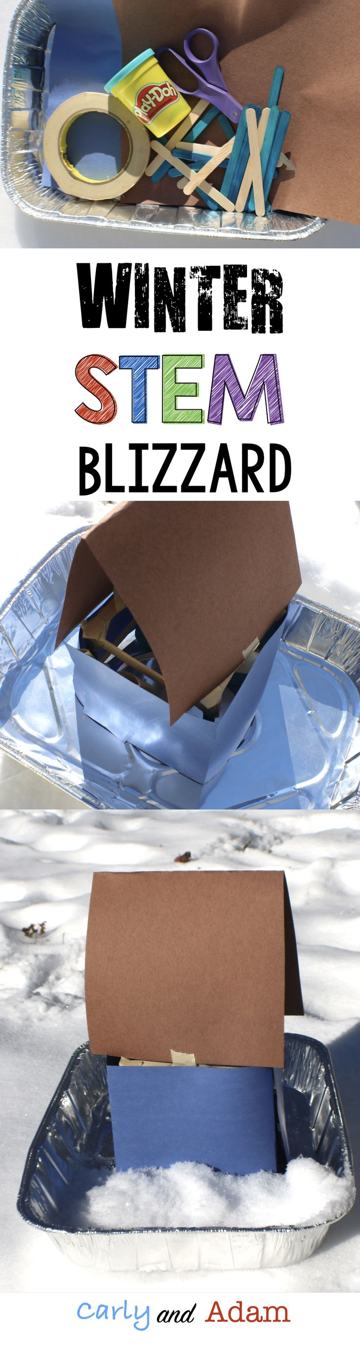 Students learn about blizzards and complete a STEM activity where they build a blizzard proof house.