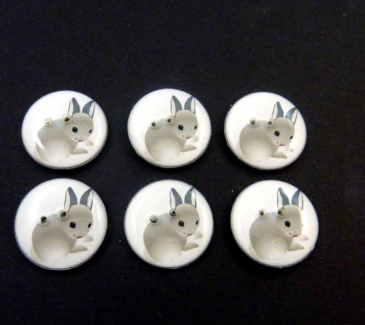 """6 Rabbit Buttons.  Decorative Novelty Sewing Bunny Buttons. Craft Buttons. 3/4"""" or 20 mm. by buttonsbyrobin on Etsy"""