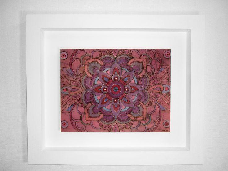 Mandala Ajna I 6to Chakra: Centro de la intuición, percepción extrasensorial Batik enmarcado 45x53cm. VALOR: $55.000