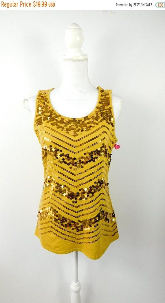 b30e4ddca1e9 35% BLOWOUT SALE Vintage 1990s 90s Cato Chevron Print Gold Sequin Sparkle  Sleeveless Disco Pullover Tank Top Blouse Shirt Sz Medium by  WearingMeOutVtg on ...
