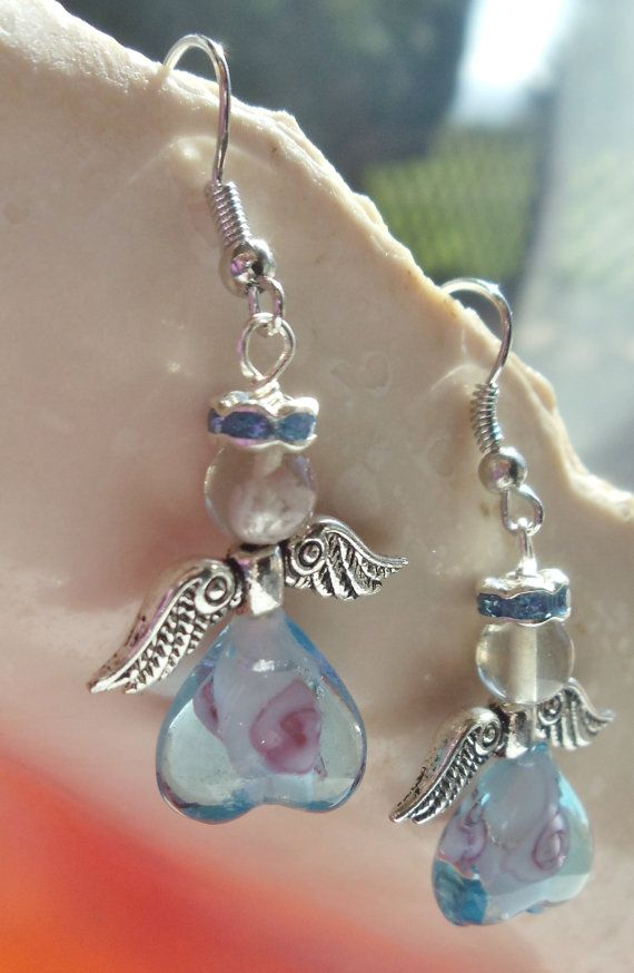 Angel Earrings with heart shaped blue by Charsfavoritethings, $10.00
