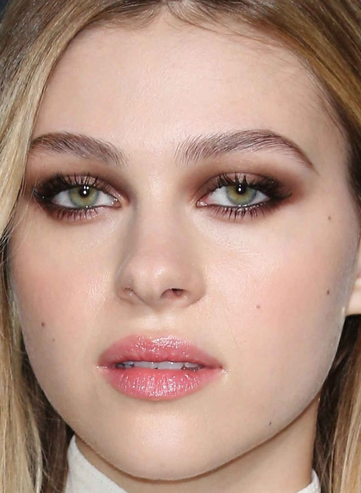 Close-up of Nicola Peltz at the Saint Laurent fall 2016 show.