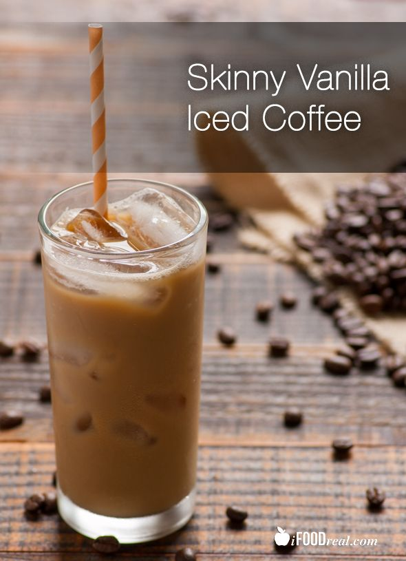Skinny Vanilla Iced Coffee Recipe -- Recipe for healthy and skinny iced coffee with no sugar or dairy. Only 27 calories.