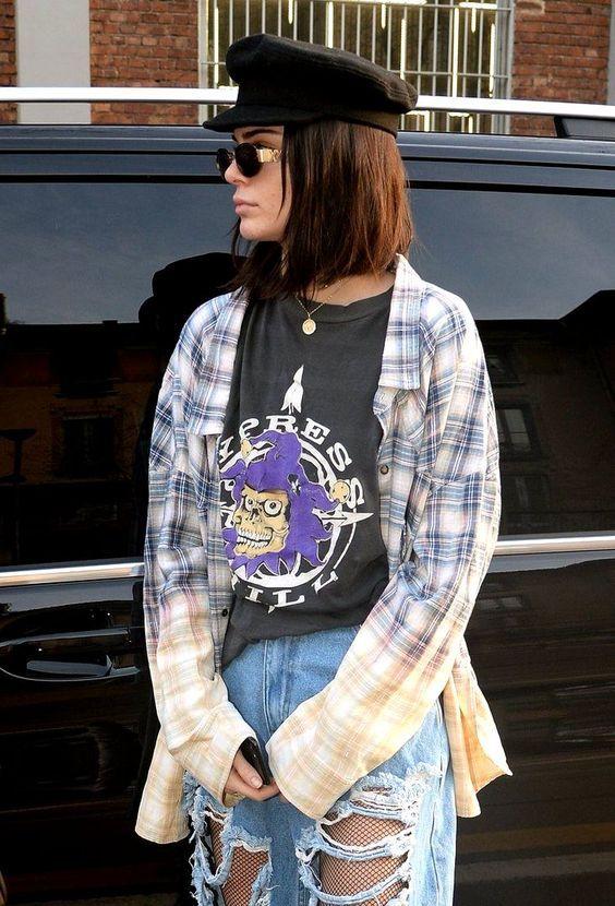 11 Looks para quem ama camisa xadrez. Kendall Jenner eee1fbfaa85