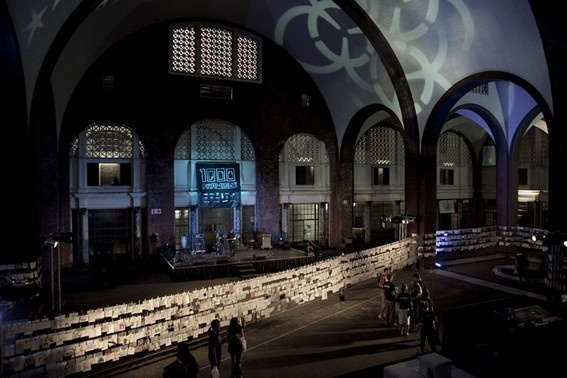 """""""The final instalment of Night of a 1000 Drawings took place at the Grand Concourse of Jozi's old Park Station. Now derelict and forgotten hidden behind the new Park Station, replete with vaulted ceilings, insane mosaics and that old colonial touch.""""   (Andy Davis writing about 1000Drawings 2009, Johannesburg)"""