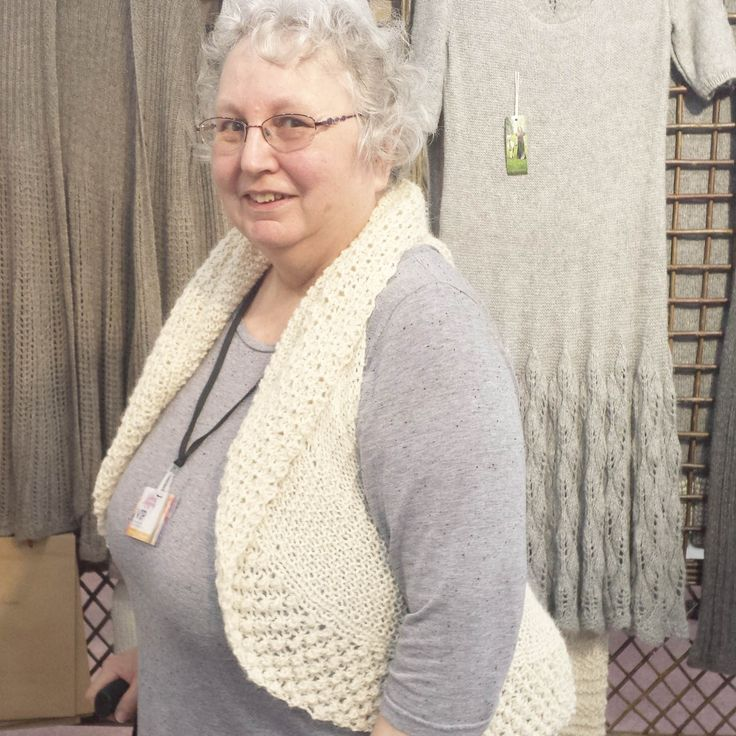 Christine is looking great in her Balboa Waistcoat knitted in Purl Alpaca Designs yarn in the colour Alpaca Light.