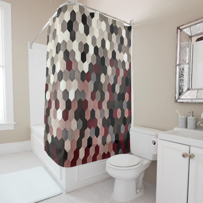 Hexagon Pattern In Gray And Burgundy Autumn Colors Shower Curtain