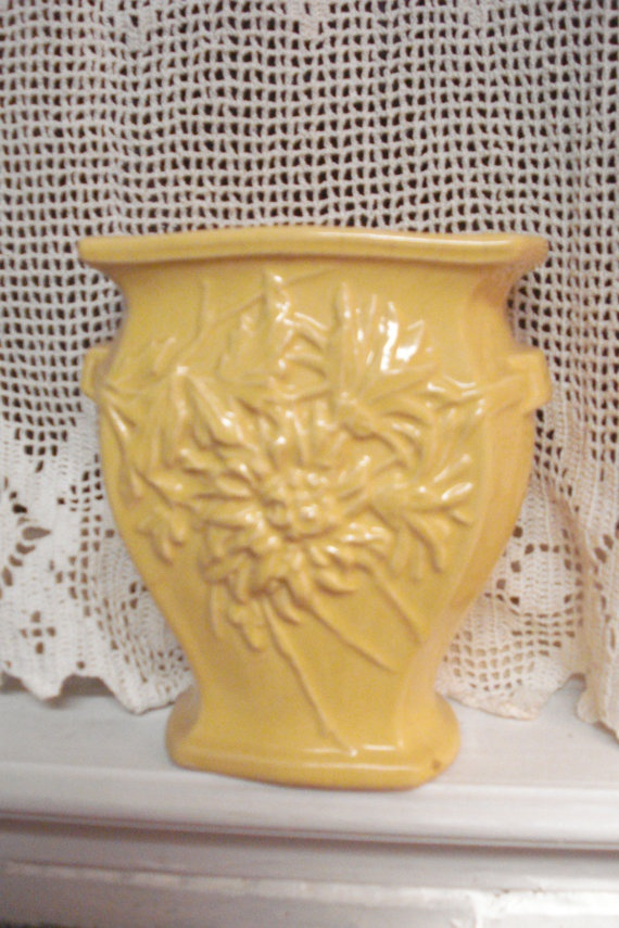 yellow McCoy pottery vase