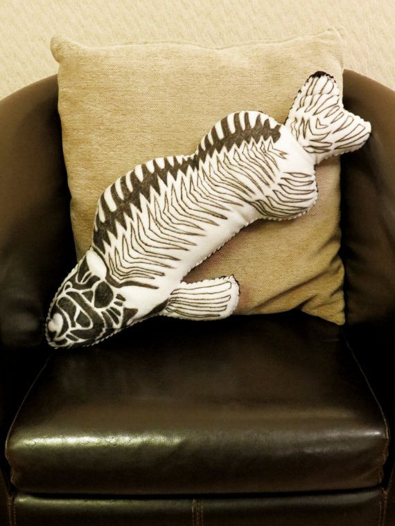 Fish Skeleton - Hand Painted Large Cushion. MEASURES APPROX. 58cm x 28cm.