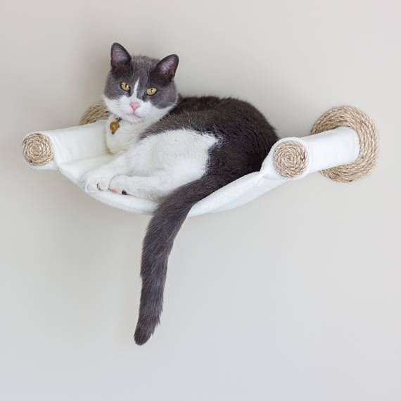 Cat hammock – wall shelf mounted cat – cream   – It`s a cats world